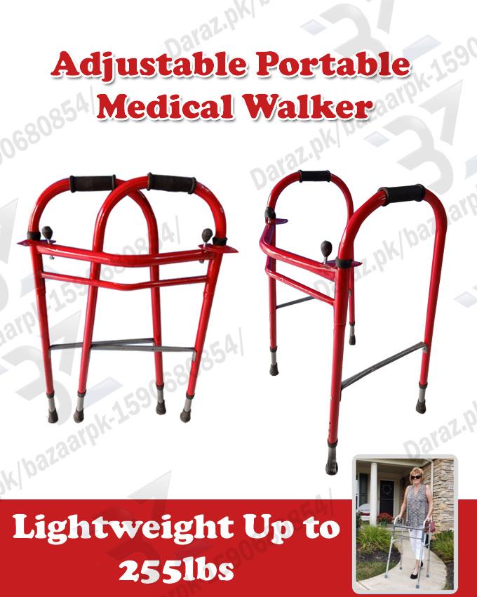 RED Folding Walker for Seniors - Adult - Portable Medical Walker