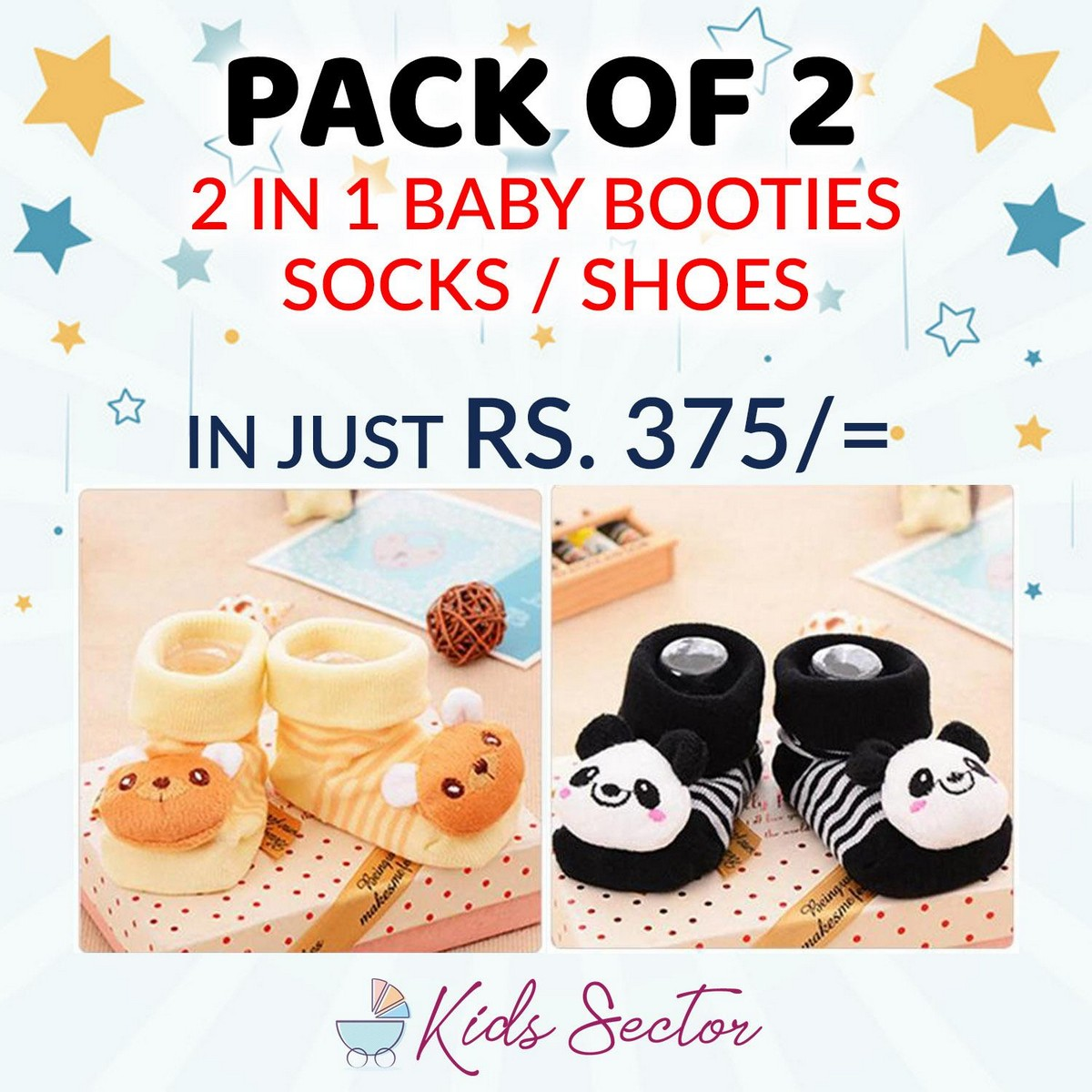 Pack of 2 - 2 in 1 Baby Socks and Shoes - Kids Toddlers Booties 0 - 12 month