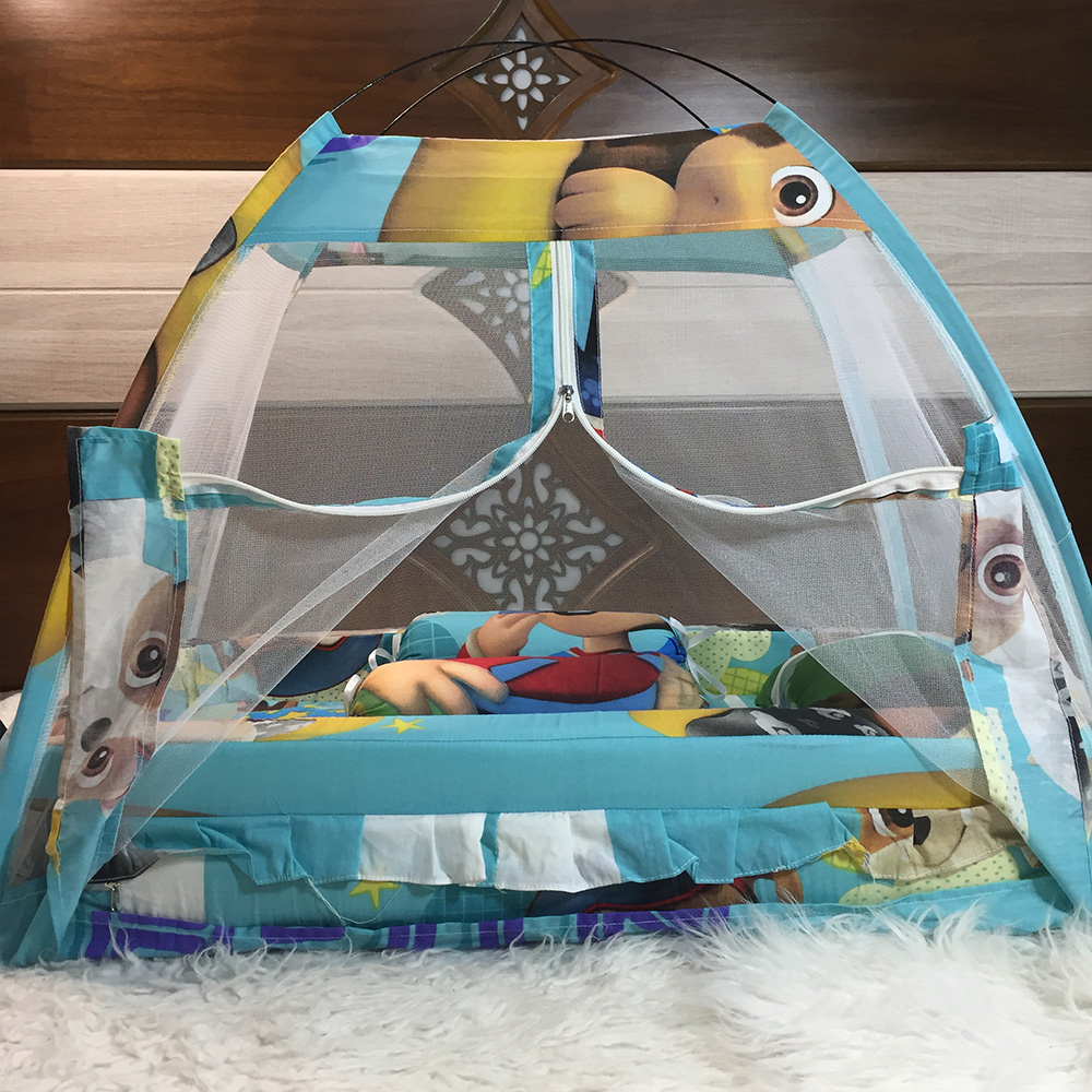 Best Quailty Grey Multicolor Super Soft Baby Bed Set With 1 Pillow 2 Cushions and Mosquito Net - Baby Bistar Gaddi Sleeping Bag Bed