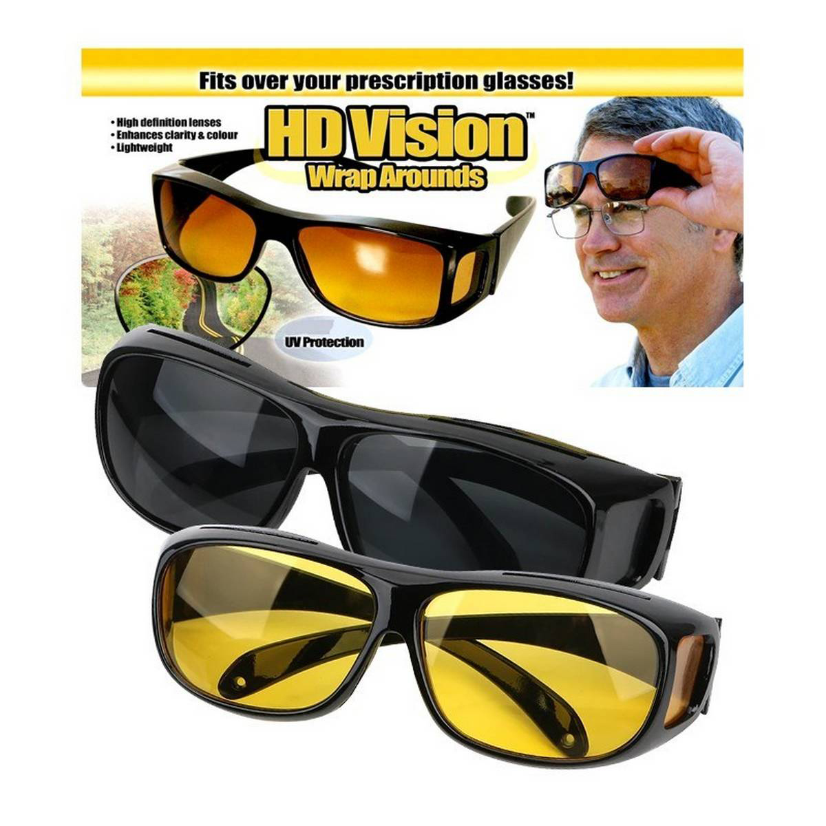 HD Vision Glasses Over Wrap Arounds Sunglasses Men Night Driving UV-400 Protective Eye-wear Goggles Driver Safety Sun Glasses