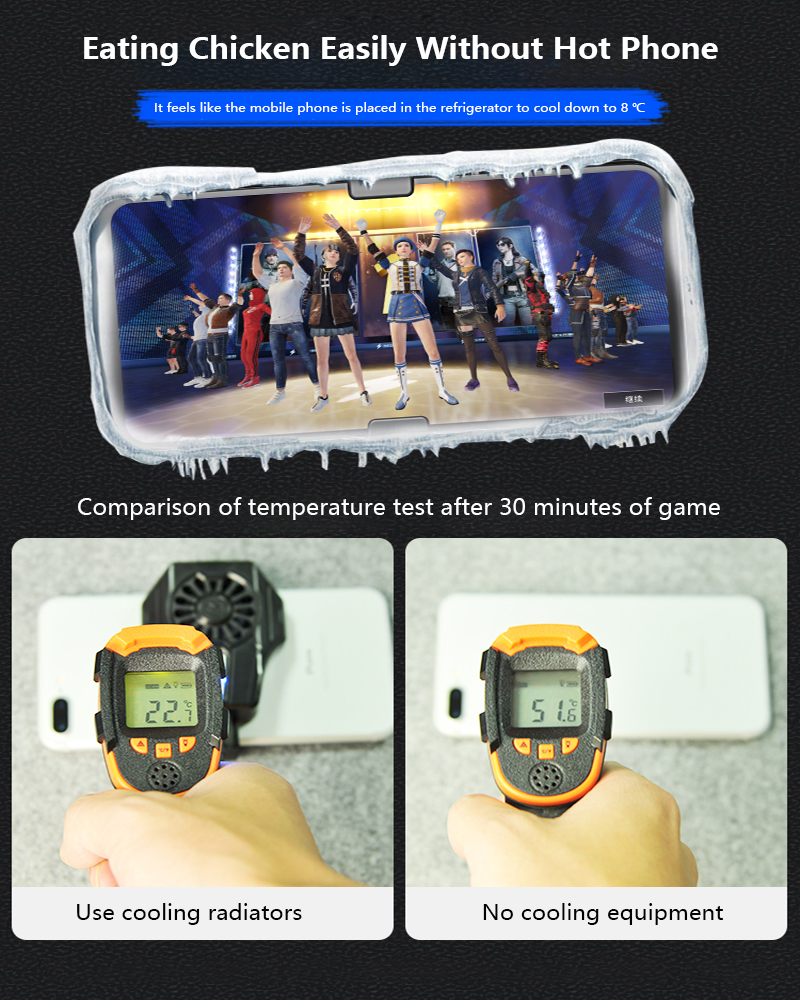 MEMO Phone Radiator Cooling Fan Case Straight-line Smart phone Radiator Gaming Universal best in cetagory Phone Cooler module Cooling Fan Holder Heat Sink cooling fan for mobiles iPhone Samsung Huawei Xiaomi and all brands