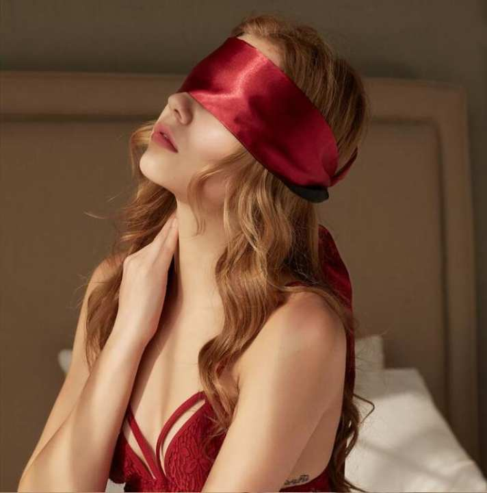 Larebjezzy 02 Pcs - Soft Silk Satin Eye Patch Mask Ribbon Sexy Blind Mask For Sleep Rest