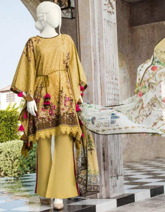Junaid Jamshed Summer Collection 2019 Yellow Lawn Unstitched - 3PCs Suit for Women