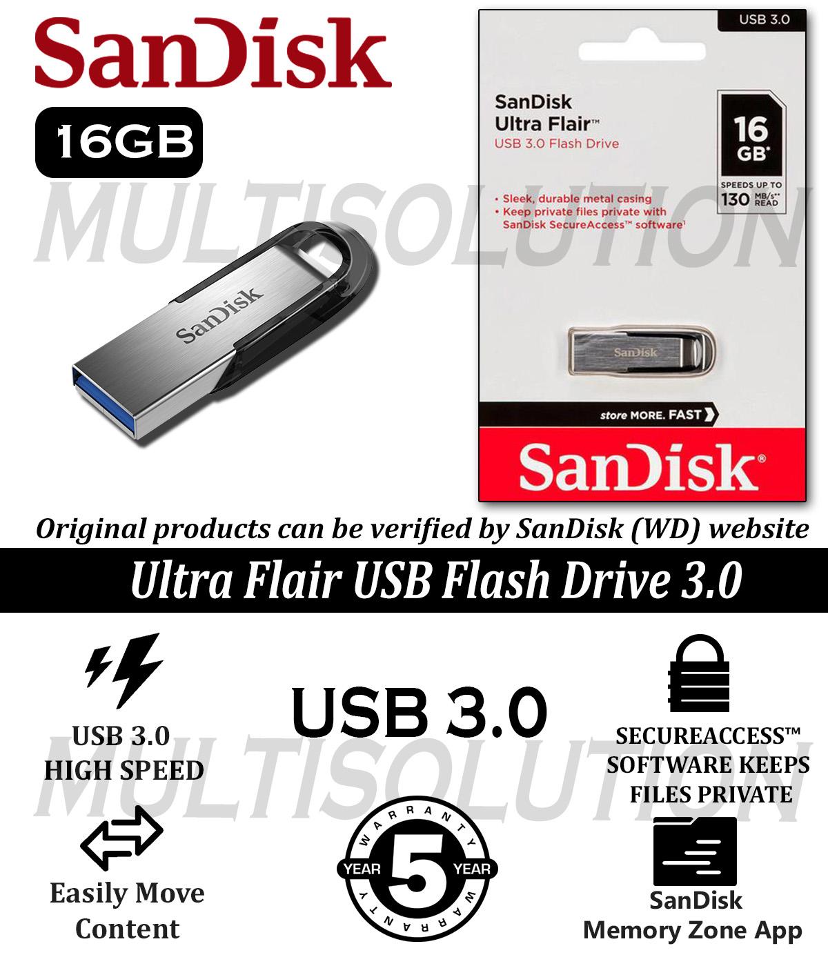 Sandisk 16gb Ultra Flair Cz73 Usb 3.0 - 150mb/s Speed - 5 Years Warranty