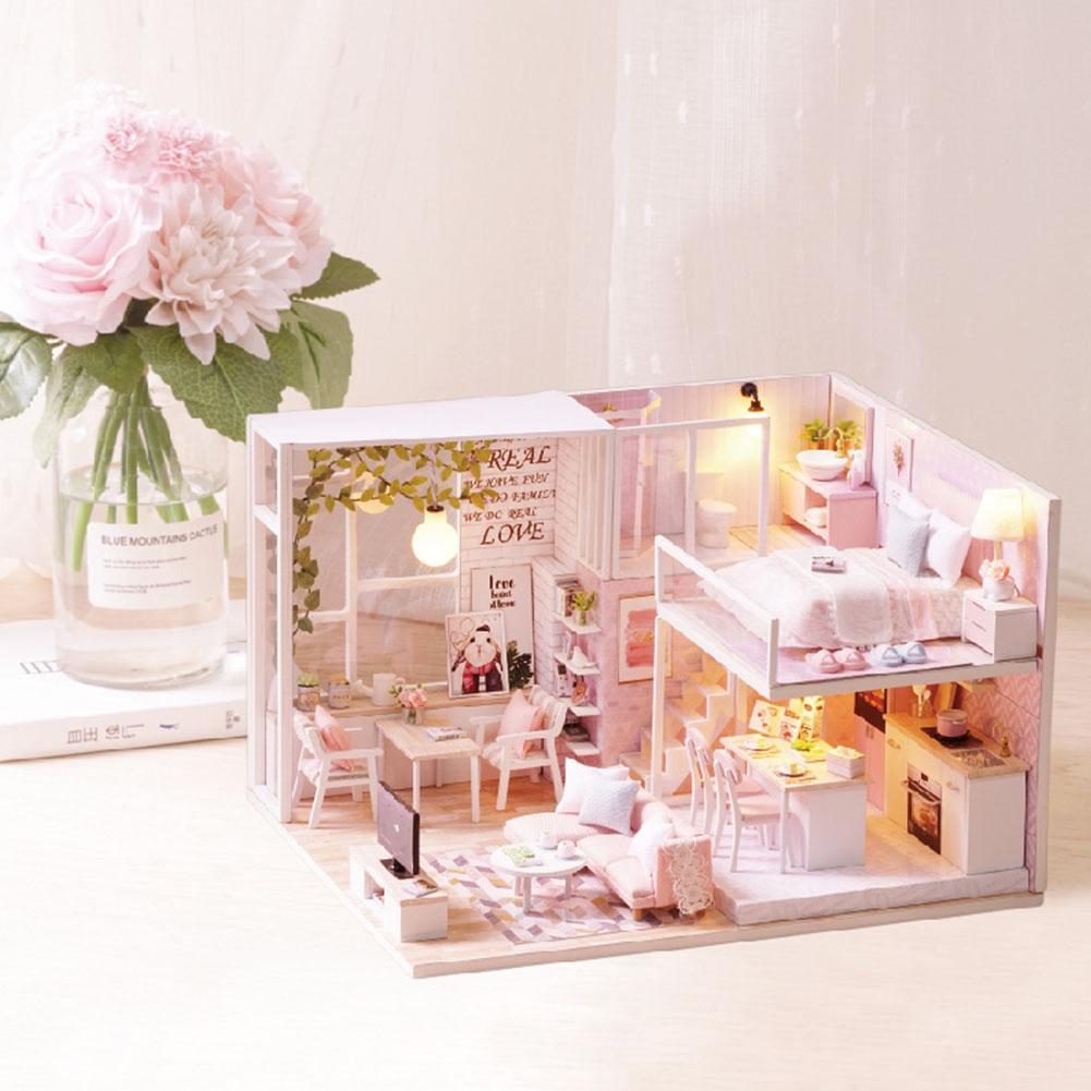 Wooded 1/24 Miniature Dollhouse LED Light niture Doll House Kit DIY Adult Kids ft