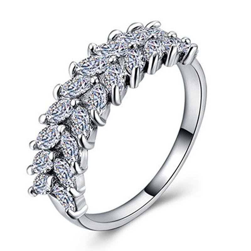 Fashion SS Wedding Engagement Collection Golden & Silver Plated Creative Wheat Shape Zircon Rings For Girls & Women - HS-CS-B989