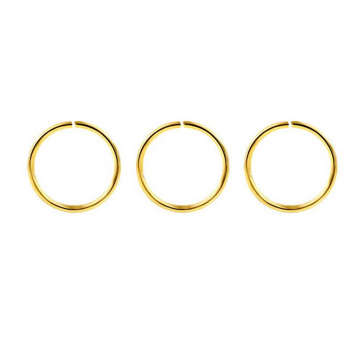 Super Pack of  3pcs Simple Golden Stainless Steel Crystal Nose Ring Set For Women