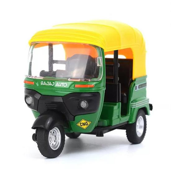 Toy Diecast 1:14 Auto Rickshaw Motor Tricycle Miniature Bemo Diecast Toy Best Tricycle Music Sound Light Model Free wheel can slide, run like real CLASSIC TRICYCLE Three-wheeled motorcycle alloy car model children's toy car sound and light pull back taxi