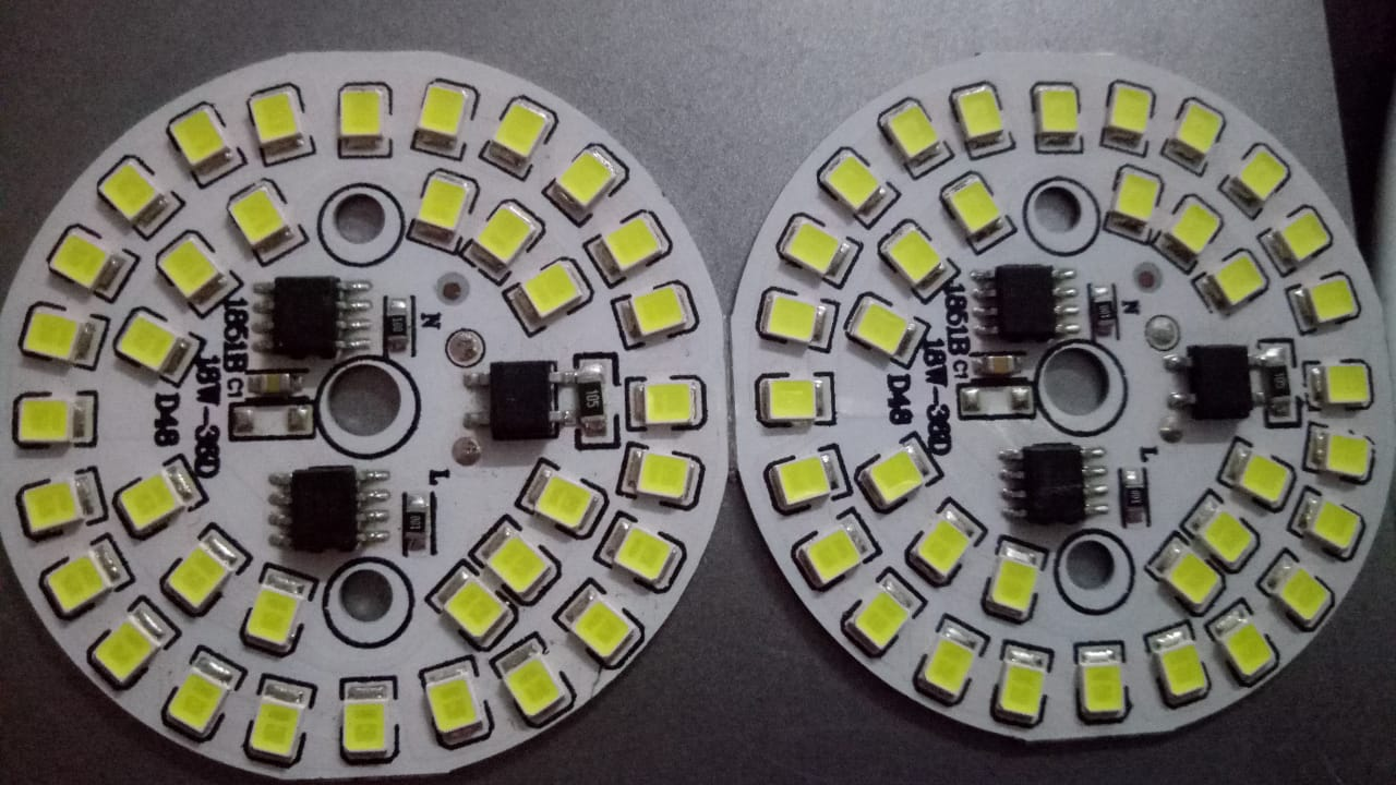 SMD Lights- Pack of 2- 18W 220V AC SMD Led Bulb(36 LED lights) plate with on board IC driver  Aluminum plate board  White LED light