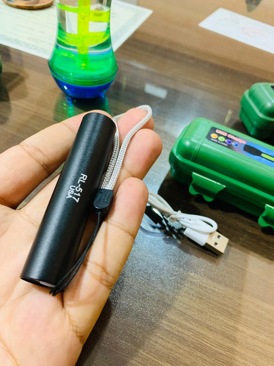 3 Guidance Modes Mini LED Flashlight USB Rechargeable LED Torch - Micro USB Charging with Cable and Case - Stainless Steel Design RL-517 USA