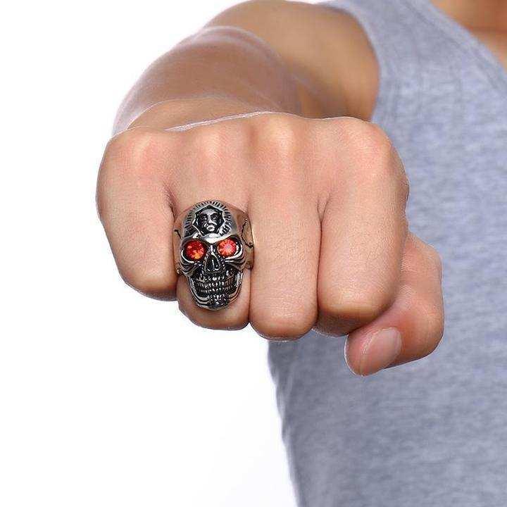 Skull Shape Titanium Ring For Men