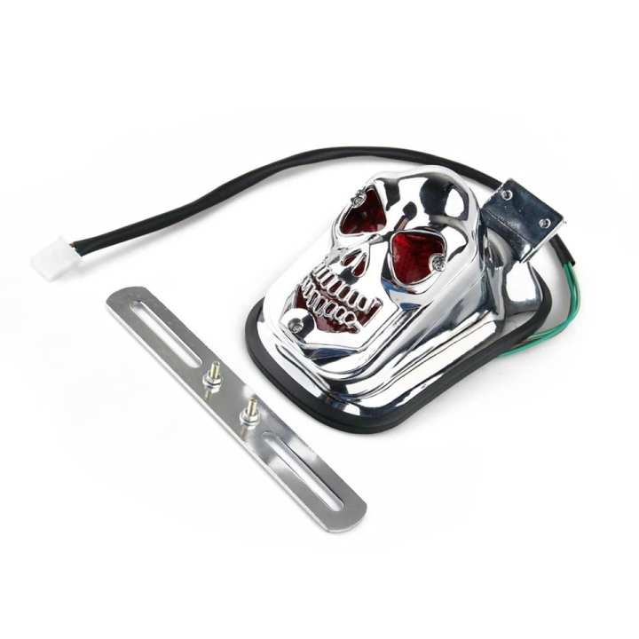 Motorcycle Tail Light Skull Design High Quality Chrome Finish, Heavy Duty Material.