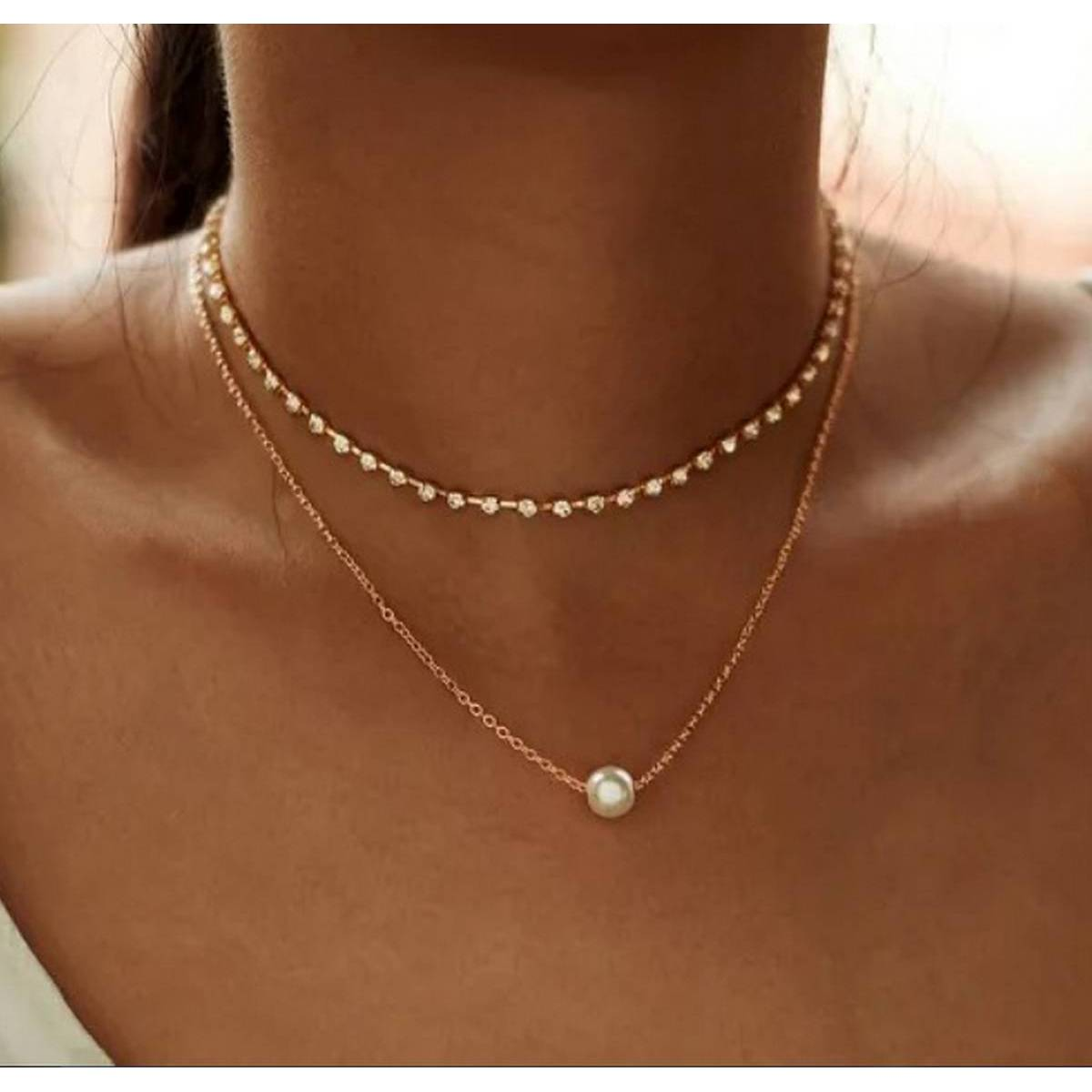 Exquisite Multi-layer Pearl Pendant Charm Choker Chain Necklace For Girls & Womens
