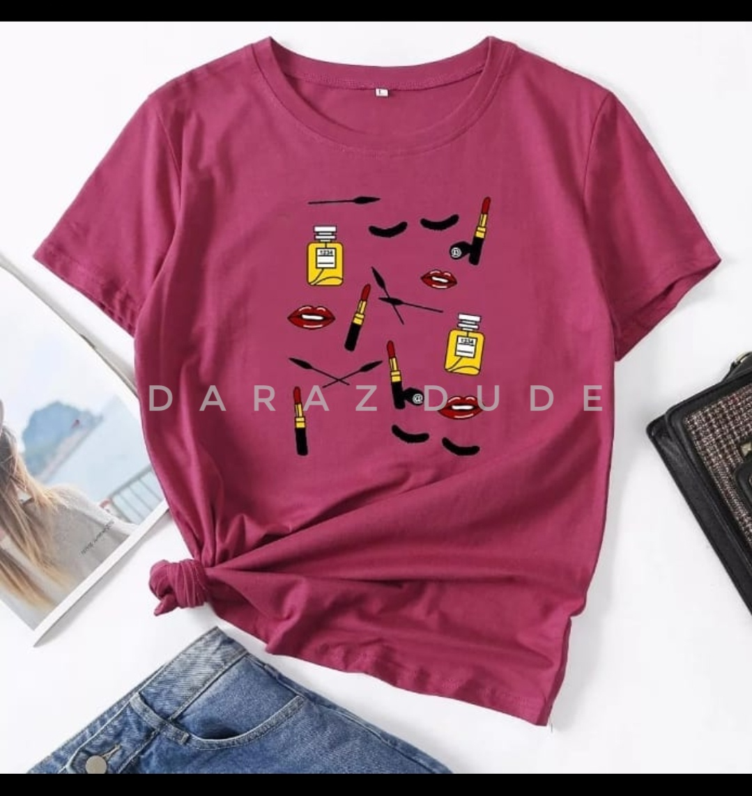 Makeup Set Print Round Neck Half Sleeves Casual Printed T Shirts For Girls Women And Ladies