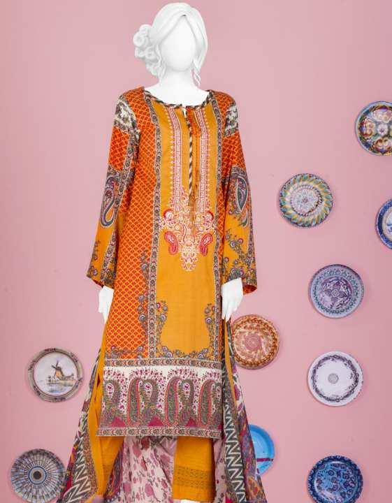 Junaid Jamshed Summer Collection 2019 Vol 2 ORANGE Unstitched - 2 PCs Suit for Women