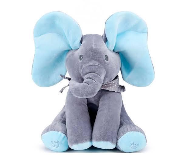 FRAKIN Baby Soft Plush Toys Peek-a-boo Elephant Music Animated Stuffed Animal Kids