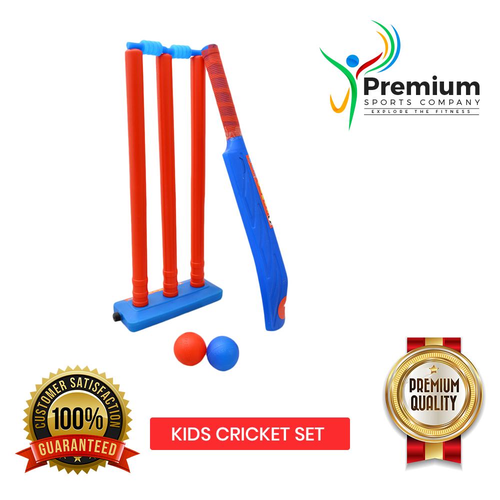 PREMIUM SPORTS Kids Cricket Set - 1 x Plastic Bat 2 x Cricket Soft Balls 1 x Wicket - 500 Gram - Blue