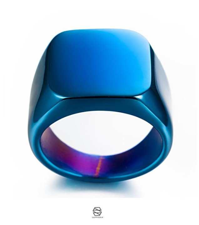 The Big Stitch Blue Shinny Titanium Punk Ring for Men