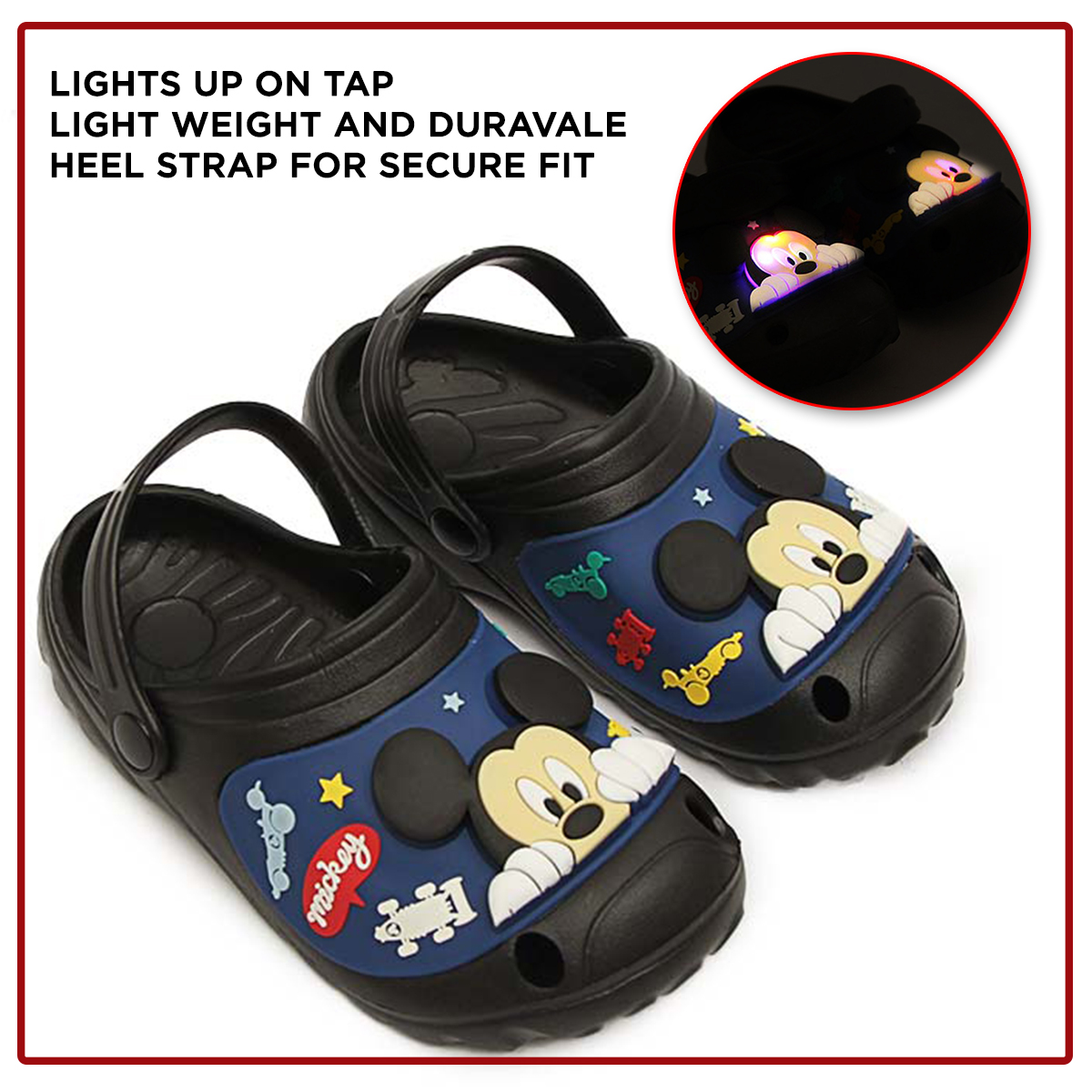 Imported Cartoon Characters Summer Crocs Clog Slippers Sandals & Chappal With Light Blink For Your Kids - Non Slip Sandals Easy to Wear