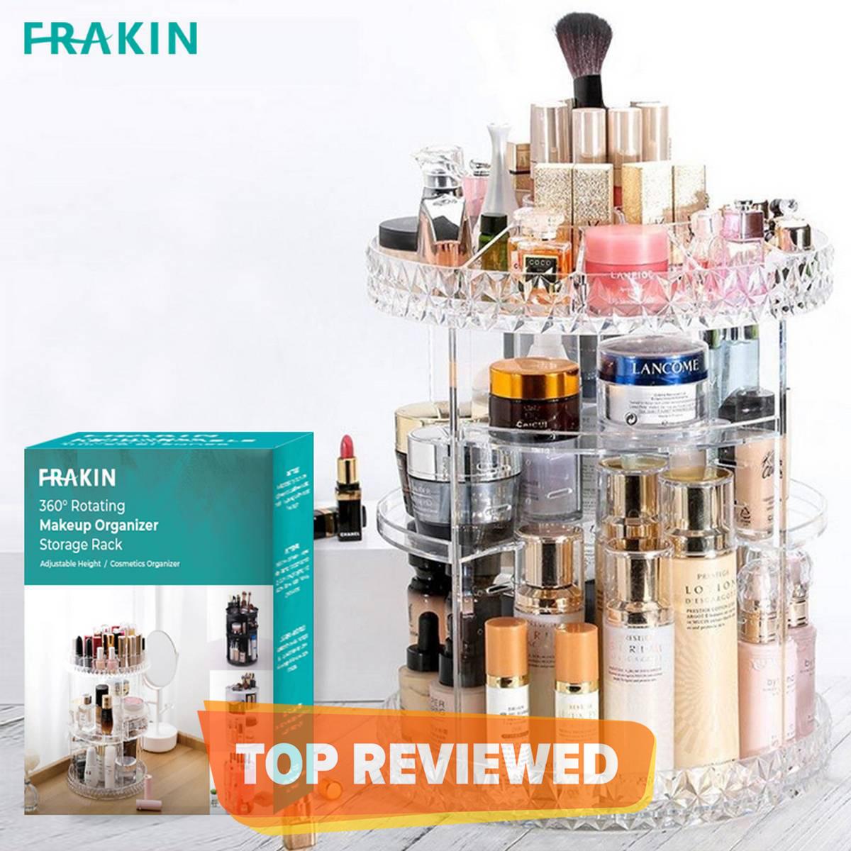 FRAKIN 360 Degree Rotating Makeup Storage Rack Height Adjustable Cosmetics Organizer Assembly Skin Care Holder Bathroom Display Case