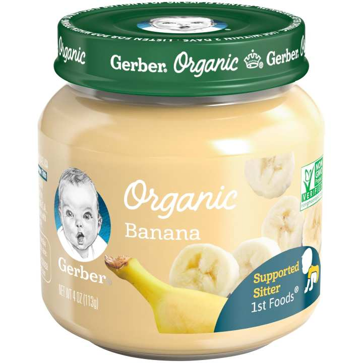 Organic 1st Foods Banana Baby Food 4 oz Glass Jar