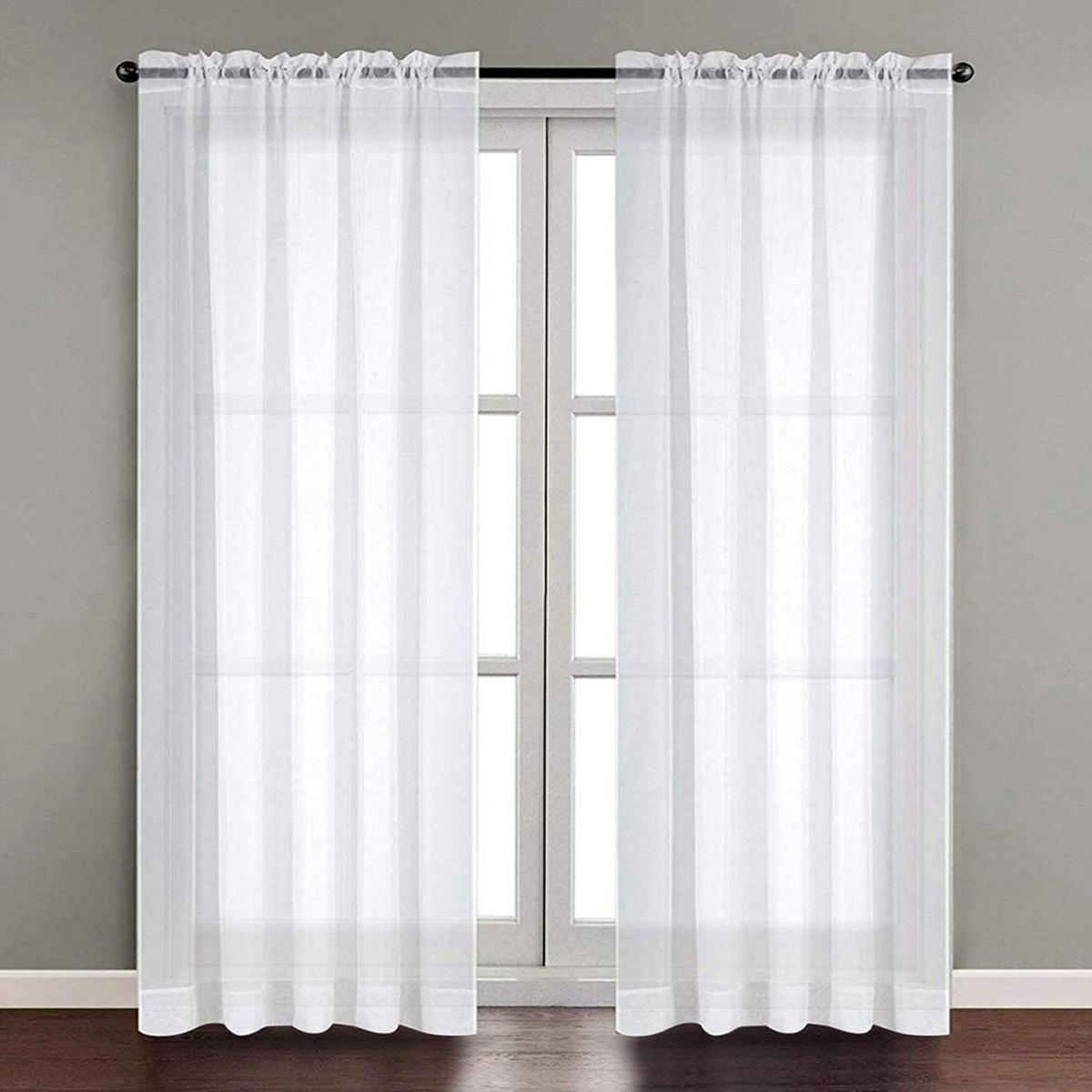 Curtains 2 Panels White Sheer W54 X L84 Sheer Voile White Luxurious High Thread Window Curtains