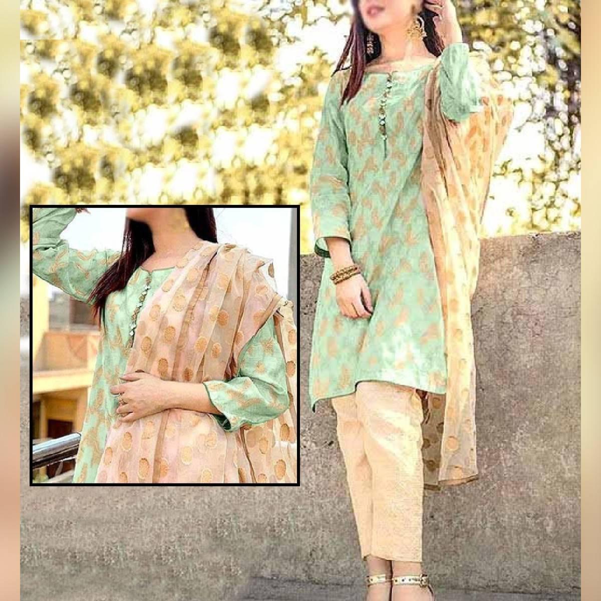Banarsi Style Cotton Jacquard Suit with Organza Jacquard Dupatta (DRL-728)
