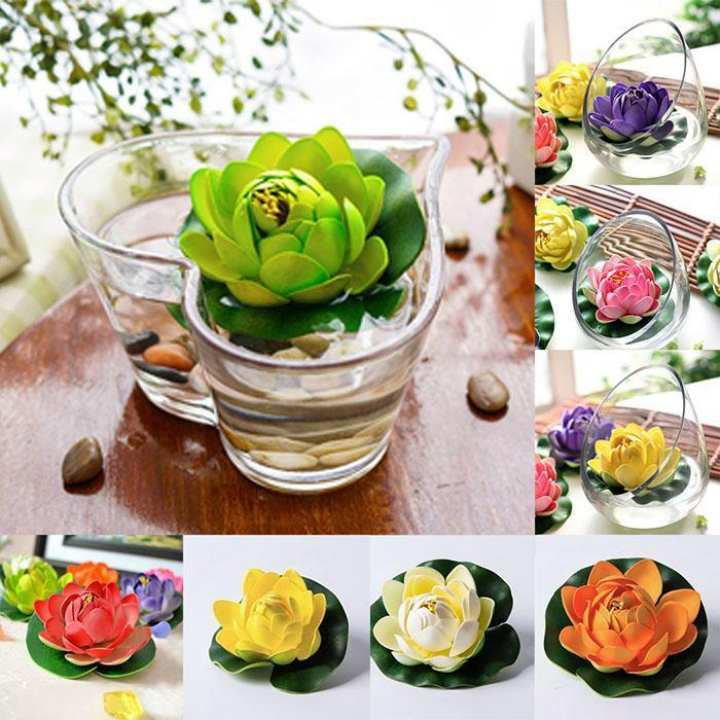 Plastic Artificial Lotus Water Lily Plants Floating Flower Home Pond Decoration