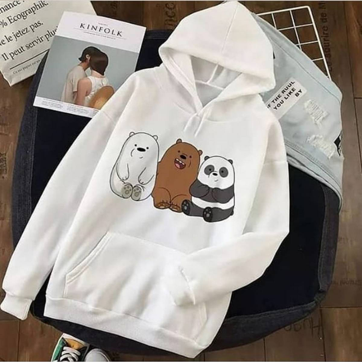 High quality imported casual trendy new fashion PANDA printed kangroo hoodie oull over