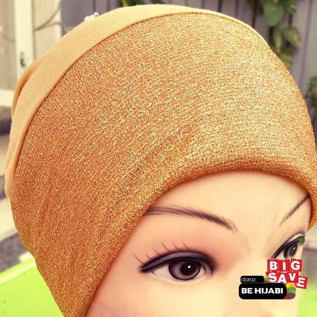 Shimmer glitter golden Muslim Headscarf Inner Hijab Caps Wraps Women Islamic Under Scarf Ninja Scarf Ramadan Stretch Cotton Bonnet Caps