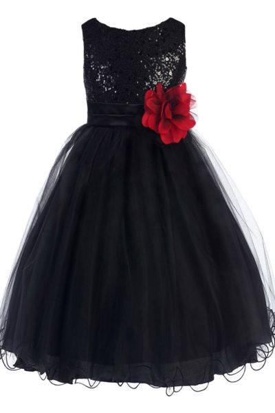 Black Sequins Frock For Girls