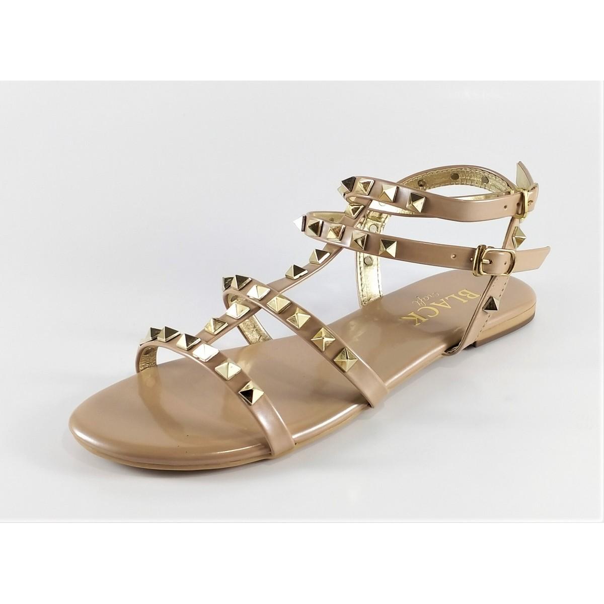 Ladies Sandals - Flat Sandals - Women Fashion - Fancy Romans - Black - Nude Color