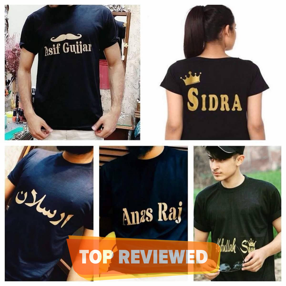 Customized printed T Shirts For Boys And Girls personalized your name in English or urdu on T Shirts