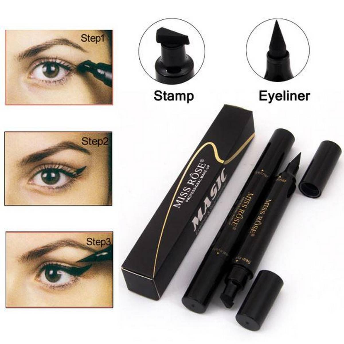 Miss Rose Liquid Eyeliner Pen Makeup Waterproof Fast Dry Black Eye Liner Pencil With Eyeliner Stamps