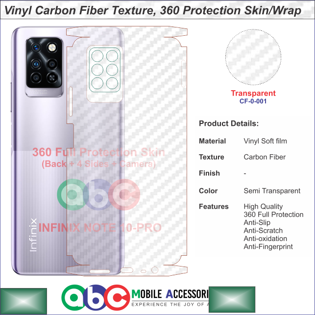 Infinix Note 10 Pro , Full Protection Vinyl Skin/Wrap in Plain , Carbon Fiber and Leather Textures for Note10Pro