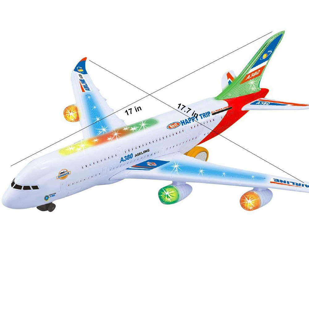 Airplane Toys for Kids with Bump and Go Action -Toy Planes for Boys and Girls with Flashing Lights, Real Jet Sound
