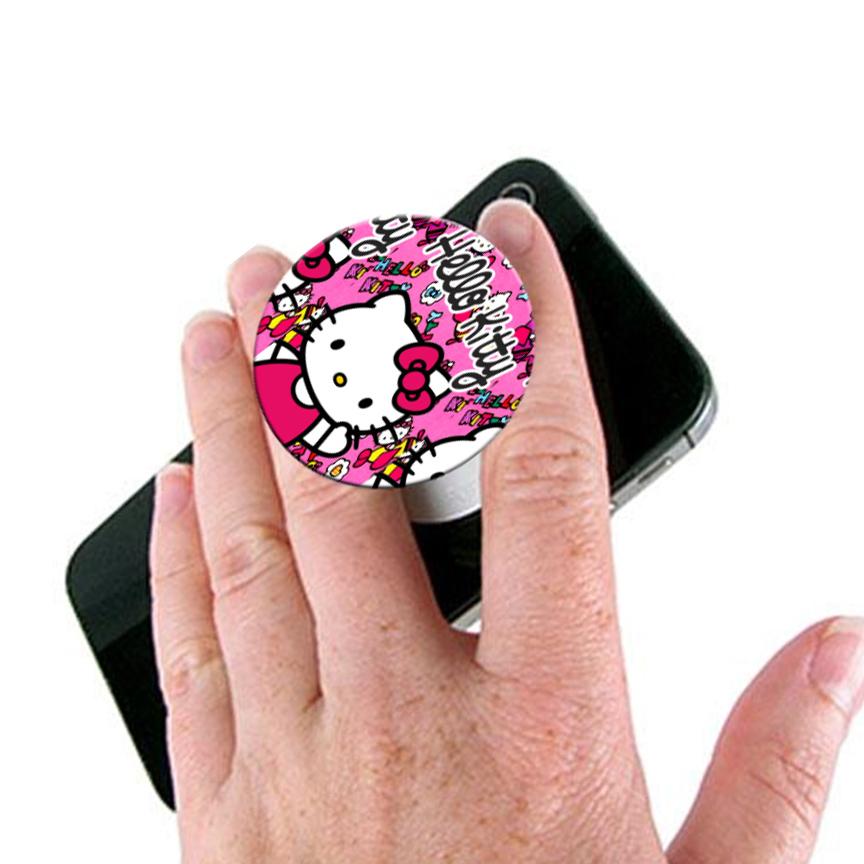 Hello Kitty Pop Socket Mobile Stand / Holder for Boys & Girls - Universal Pop Socket for Mobile Phone & Tablets & Cover - Pink