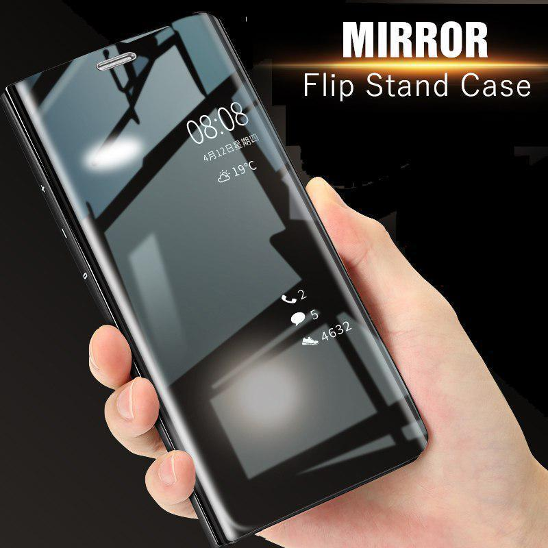 Mirror Clear View Flip Case For Huawei Y7 Prime (2018)