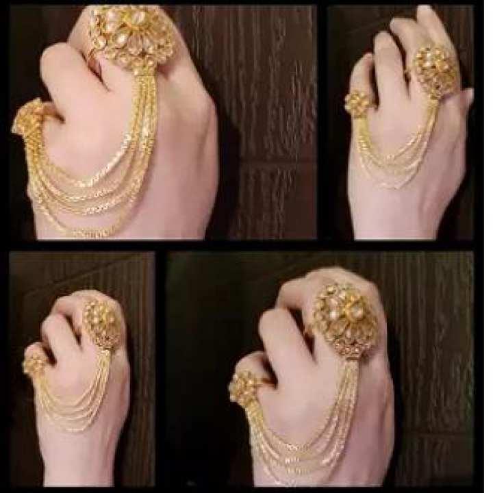 Finger Ring Polki zarcon gold plated for women