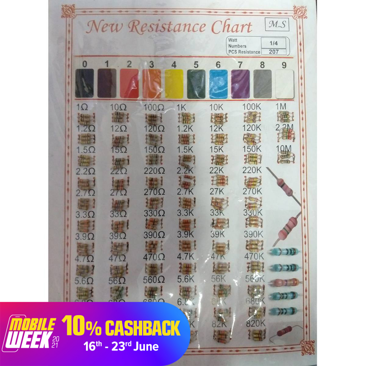 207 Pcs High Quality Resistor With 66 Tpye Of Value (New Resistance Chart)