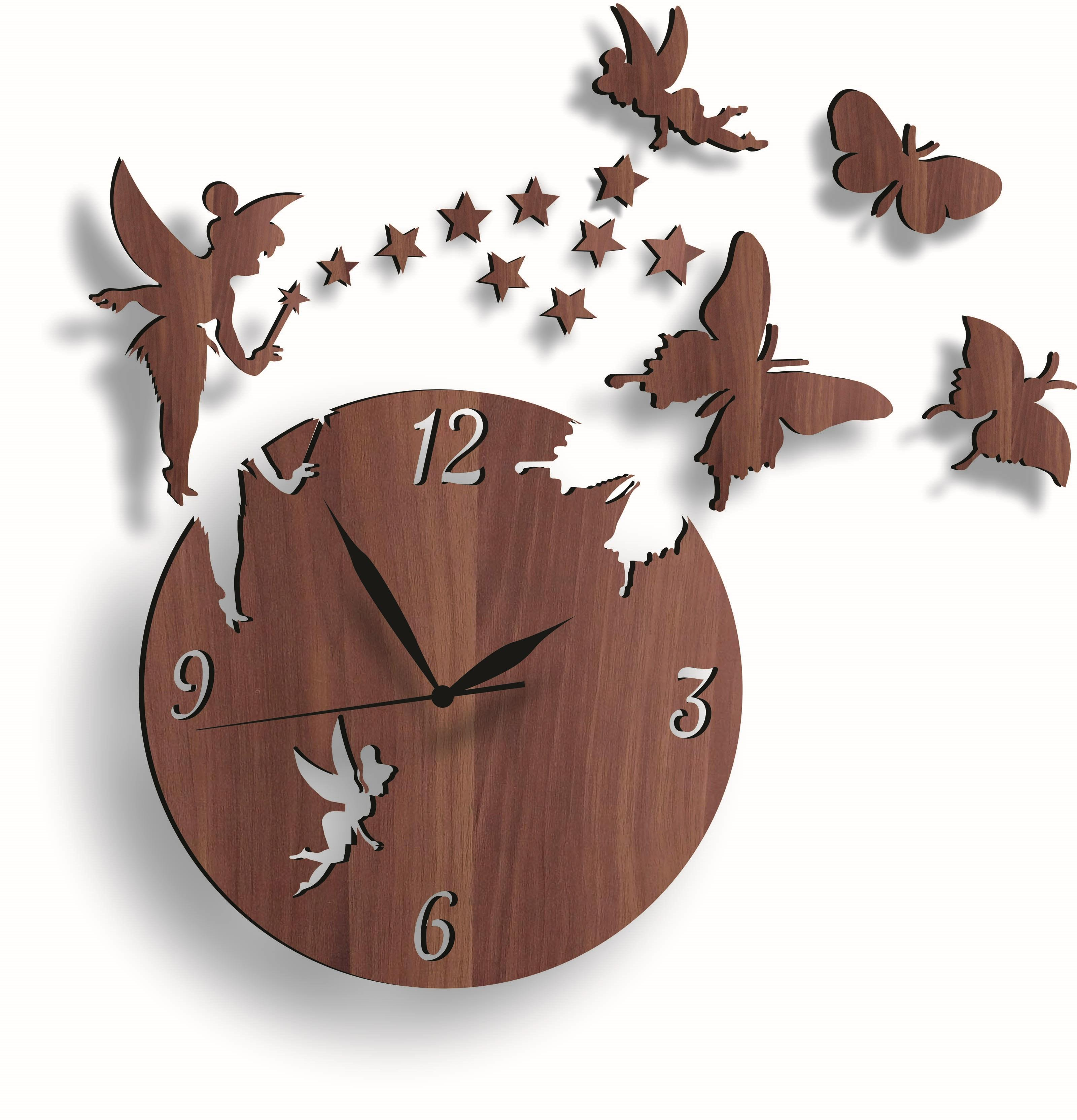 Wooden Wall Clock For Bedroom, Fairy Home Decor 3D watches,decoration Item For Home, 2 Fairy with 9 Stars 3 Butterflies, Laser Cut Stylish Design for Girls
