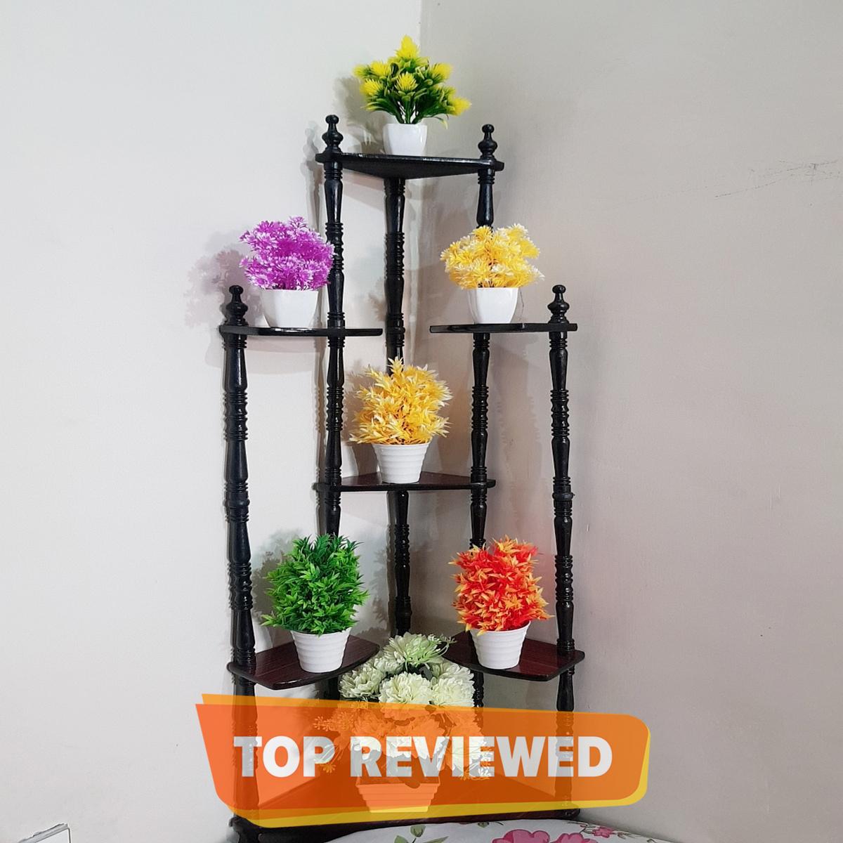 Hot Sale Best Design Decorative Rack 7 Tier Wood Corner Shelf for Living Room