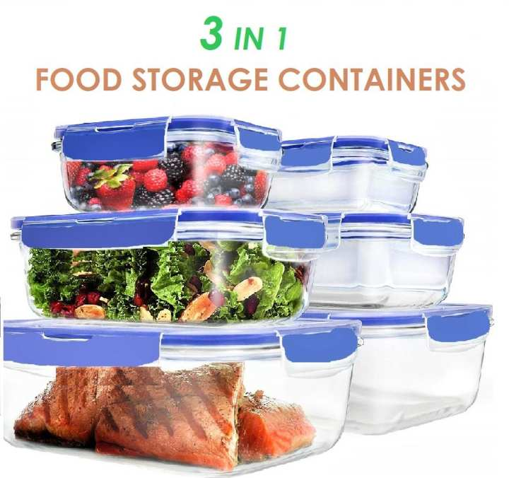 3 Food Storage Container Boxes With Locking Lid Leak Proof BPA Free Plastic
