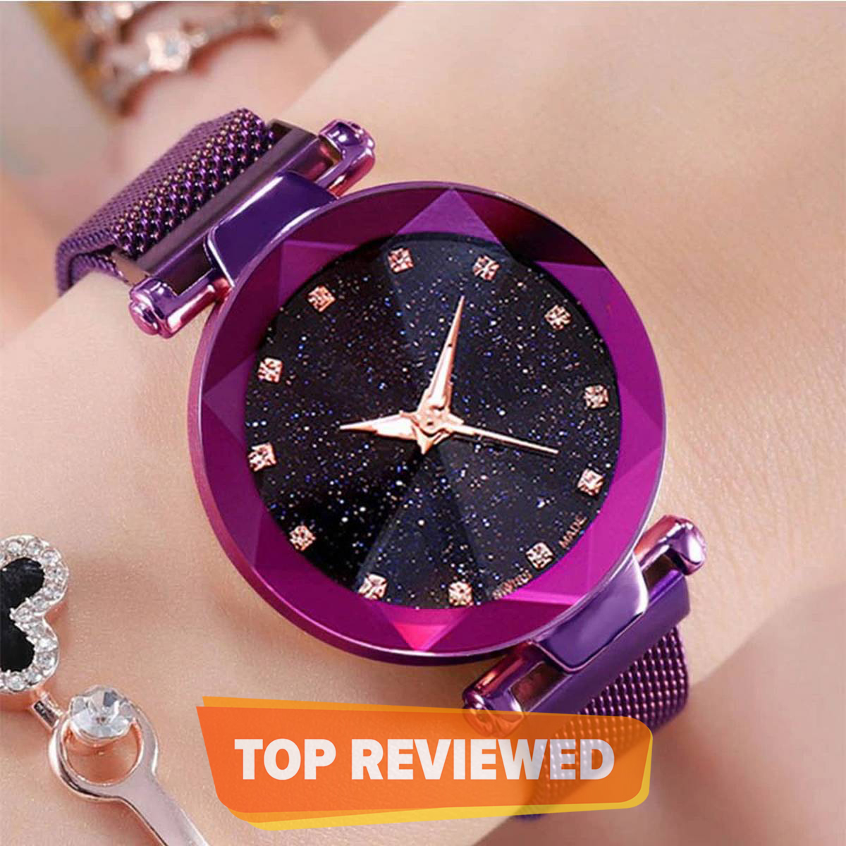 Women Mesh Magnet Buckle Starry Sky Luxury Fashion Watch - 2020 Model, Magnetic Strap, College/Office Girls / Gifts