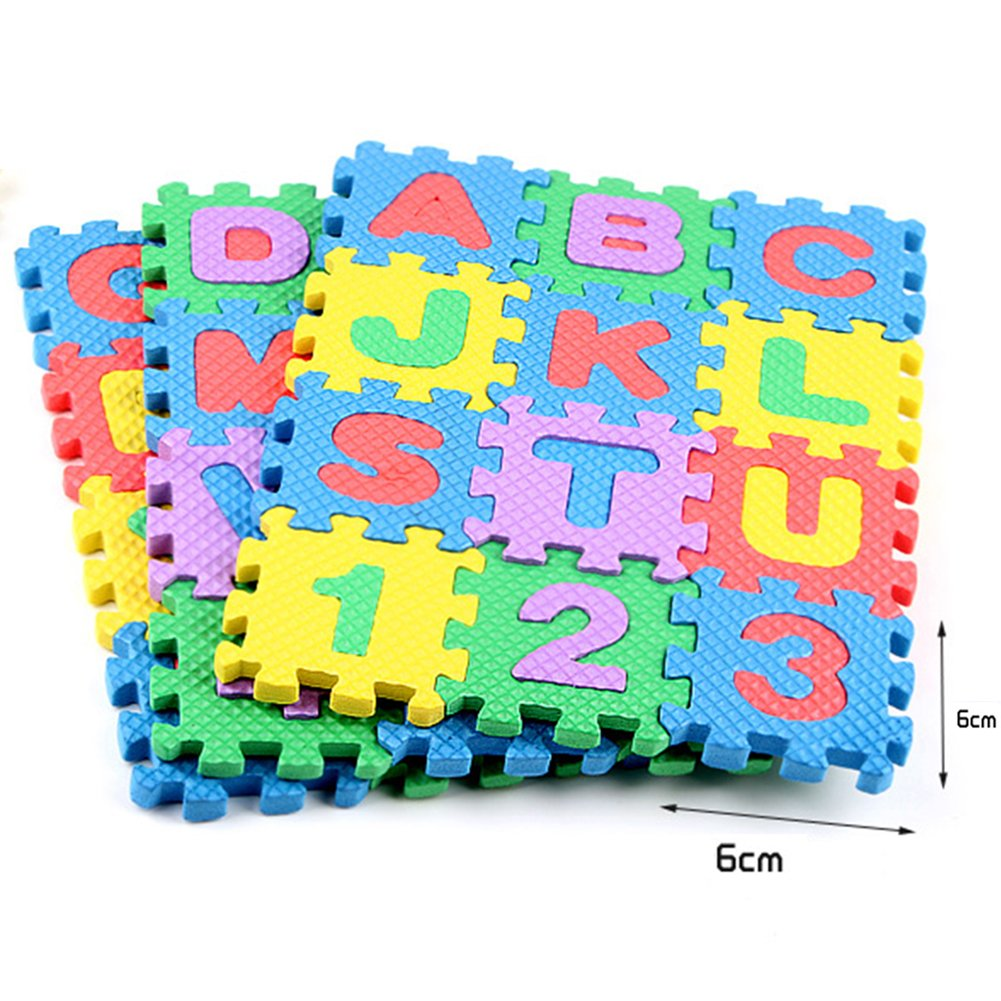 ABC Toy Block Mat Alphabets and Numbers Early Learning Toy Play Foam Puzzle Mat for Kids 36 Pieces 6cm x 6cm