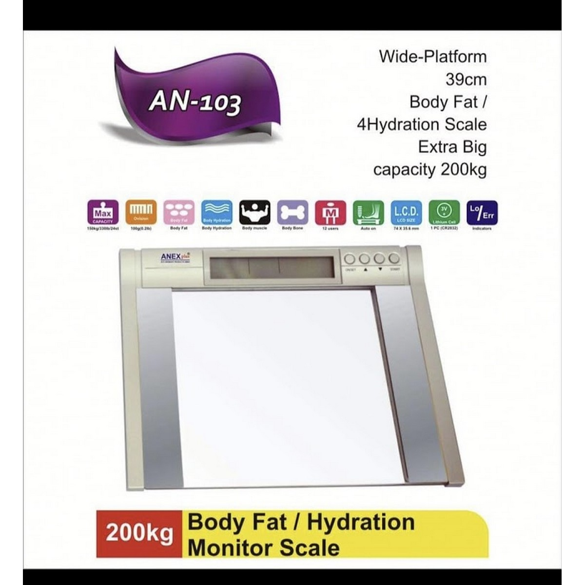 ANEX Plus 200 kg  AN103 Digital Body Weight Scale /Digital Weight Machine/ Hydration Scale Slim And Feasible Platform