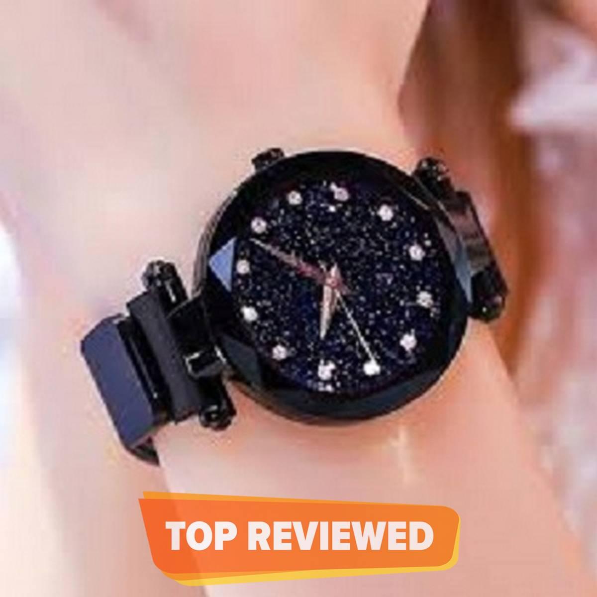 Cute And Classy Black Magnetic Ladies Wrist Watch Black