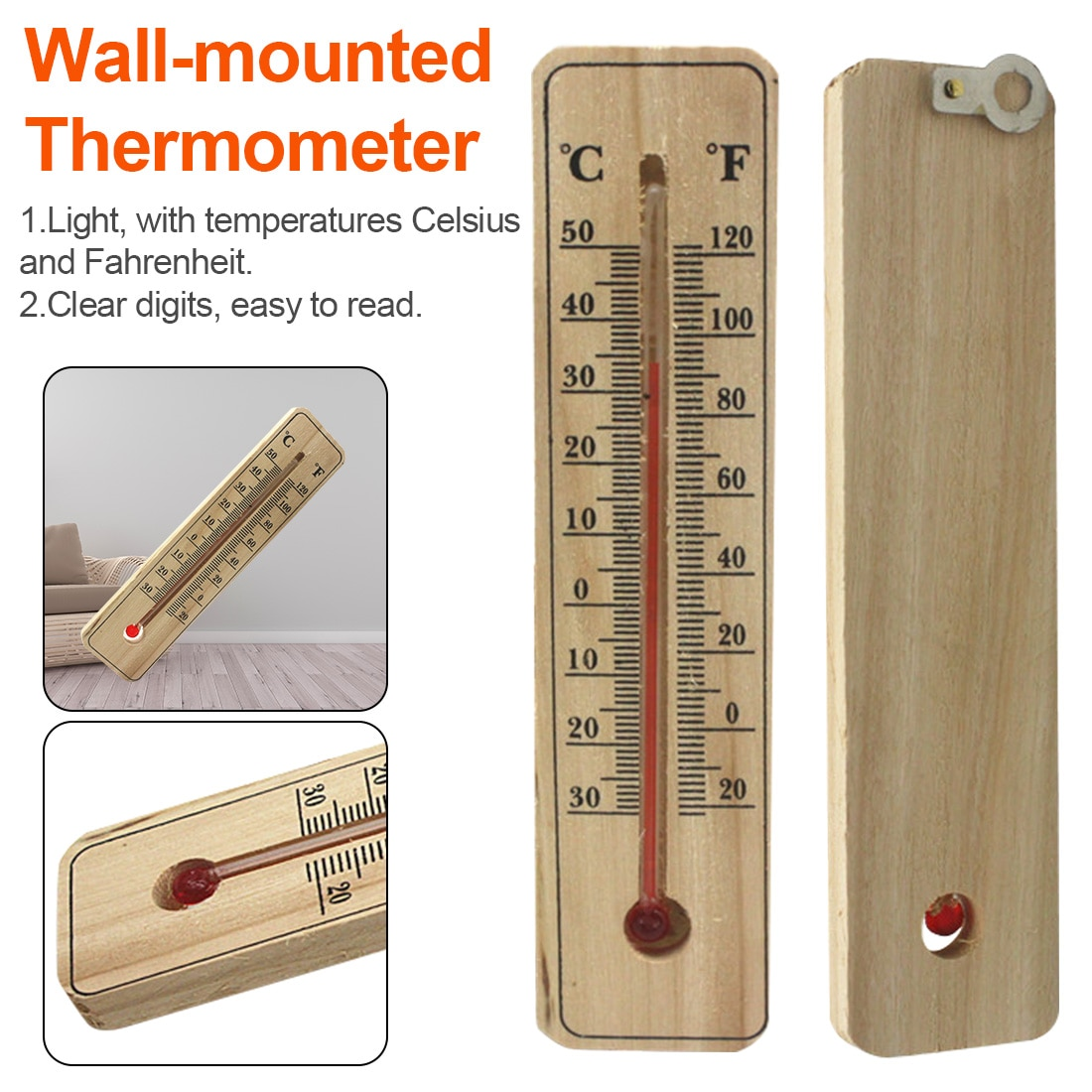 Wood Grain Hanging Vertical Indoor Thermometer Temperature Meter Monitor Gauge Fahrenheit and Celsius Scales for incubator wall Room