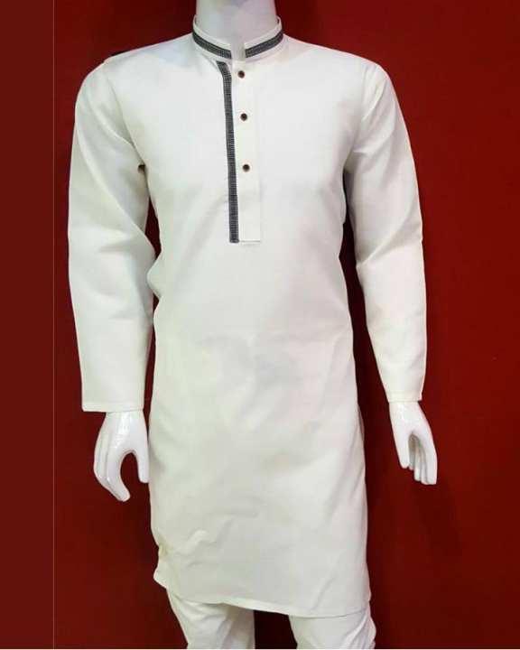 Off White Mix Cotton Kurta With White Shalwar