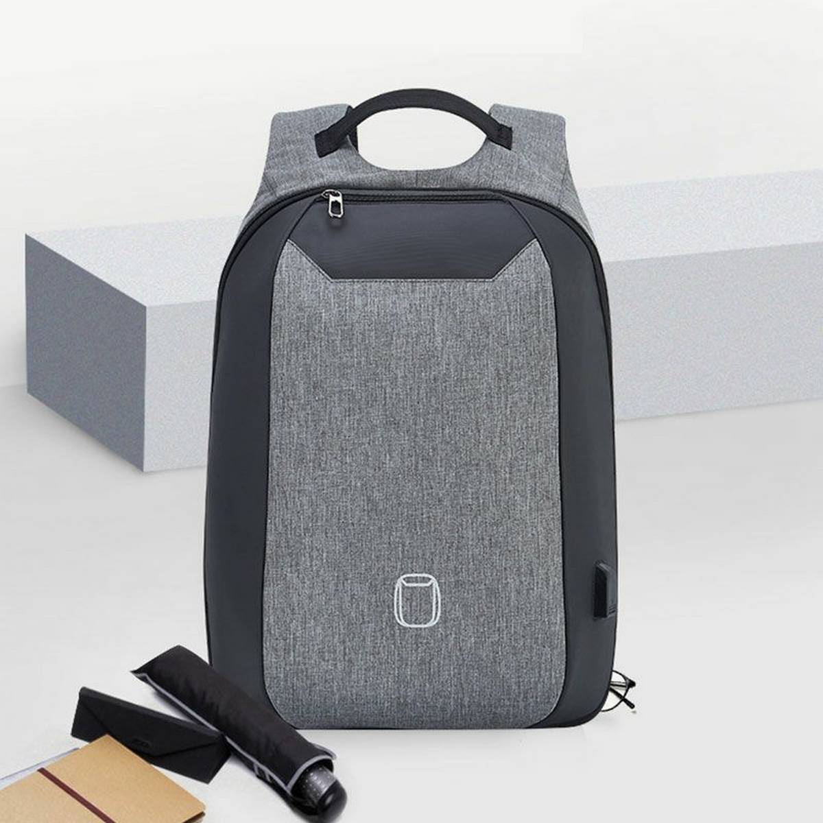 Office Laptop Backpack with USB charging port - Grey